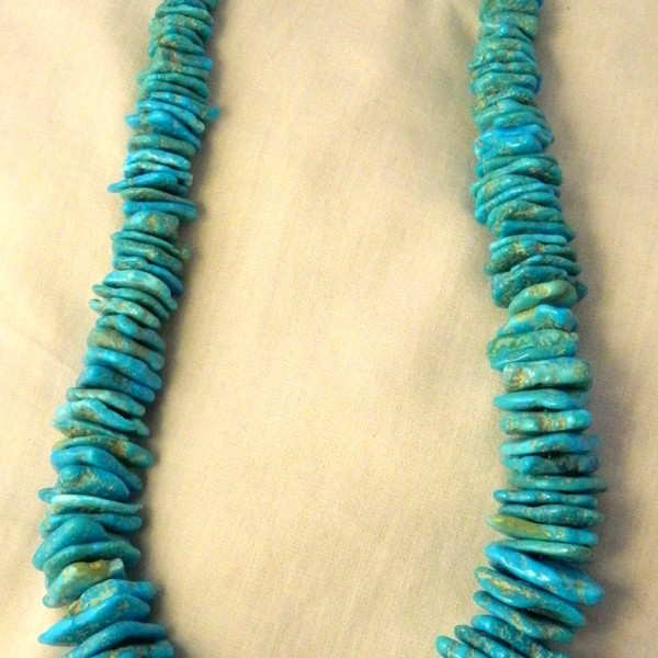 Natural _Turquoise_necklace_with_Sterling_Silver_beads & clasp. High_grade_Kingman_Turquoise