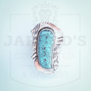 Sterling silver handmade ring artist Lucky Sonora blue turquoise 9 34 $198 1 12 x 34