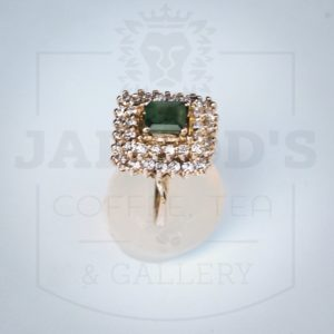 Emerald cut Emerald with diamonds 5 14 sizing available on all rings